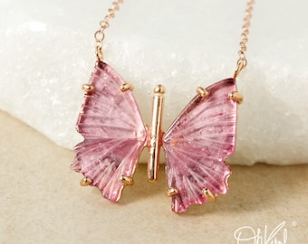 Natural Pink Tourmaline Butterfly Necklaces – Choose Your Pendant