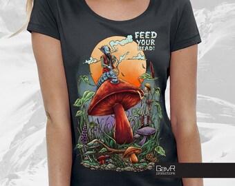 Alice In Wonderland, original t-shirtfot women, psychedelic shirt