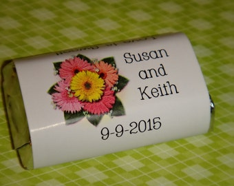 Gerber Daisy Mix Wedding Candy Bar Wrappers in Pink Purple or Blue Bridal Shower Rehearsal Dinner Favors Candy Wrappers