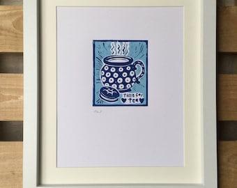 Time for Tea original A4 lino print