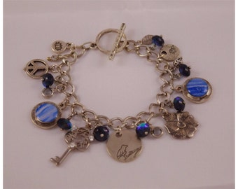 Upcycled Vintage Danish Tea Tin Silver-toned Charm Bracelet