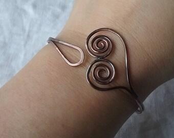 Copper bracelet ferns heart Olwyn line Mackerel Sky jewelry earthy boho hippy chic
