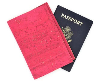 Pink Cork Leather Passport Cover, Passport Holder, Passport Wallet, Passport Case, Travel Wallet, Gift for Her, Graduation Gift, Vegan Gift