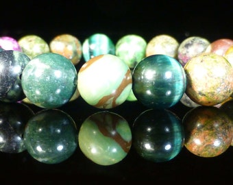 Green Rainforest Gemstone Bracelet 10mm Earth Healing Crystal
