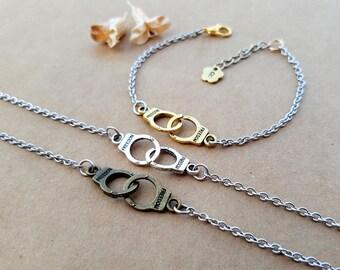 3 Partners in Crime Bracelets   Best Friends Bracelets   Matching Bracelets   Handcuffs Bracelets   Friendship Bracelets   Bff gift idea