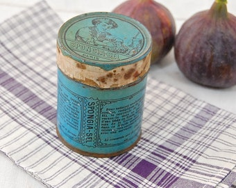 French Antique / Early Vintage SPONGIA-SEL TIN