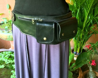 Leather Waist Bag / Fanny Pack / Hip Bag / Utility Belt / Burning Man / Travel Belt / Money Belt / 4 Pocket Belt / Pouch  - The Explorer