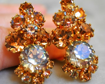 Karu Amber & Light Blue Rhinestone Earrings