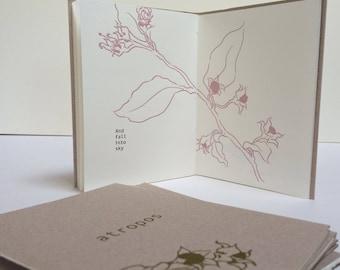 Atropos, letterpress, hand-bound pamphlet book