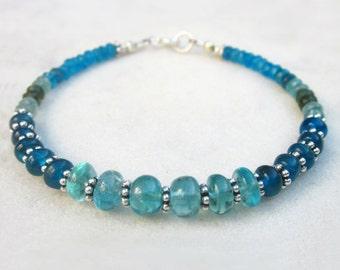 Apatite bracelet, neon blue & green apatite bracelet, apatite jewelry, blue gemstone sterling silver bracelet, elegant stone bead bracelet