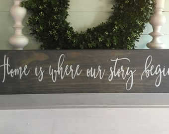 Home is where our story begins, Home is where our story begins sign, welcome home sign,  rustic home decor, wood sign, rustic sign, custom