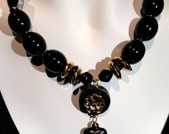 Black hart choker, beaded necklace, big and bold, wood, glass, crysal, and lucite