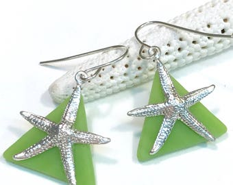 Starfish Earrings Lime Green Stained Glass