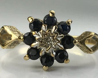 Vintage Sapphire Ring. Diamond Accents. 9K Yellow Gold Floral Setting. Unique Engagement Ring. September Birthstone. 5th Anniversary Gift