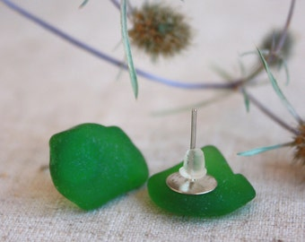 Sea glass earrings. Sea glass studs. Beach glass stud. Polished glass earrings. Earrings cloves. Earring studs