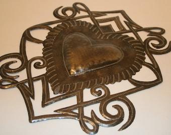 Hammered Metal Art Heart Metal Tin Punch Design Handmade Metal Art Hammered Tin