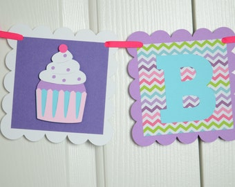 Cupcake Banner, Happy Birthday Banner, Cupcake Theme, Birthday Decoration, Purple, Pink and Hot Pink Theme
