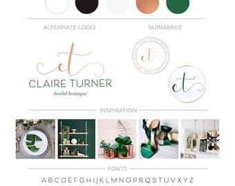 Green Copper Custom Logo Design, Premade Branding Package, Watercolor Rose Gold Logo, Custom Branding Kit, Modern Minimalist Logo Watermark