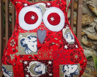 Christmas pillow, approx 39x43cm form OWL-OWL red cotton with Angels