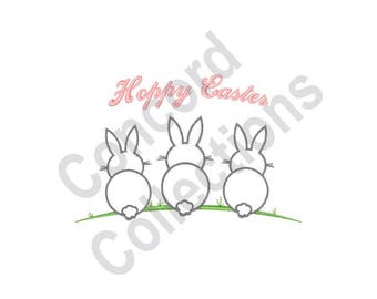 Hoppy Easter - Machine Embroidery Design, Easter Bunnies