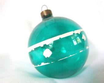 Vintage Unsilvered Christmas Ornament, Green Holiday Ornament