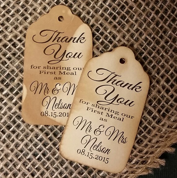 "Thanks for Sharing our First Meal as Mr and Mrs Choose your quantity SMALL 2"" Favor Tag"