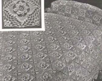 Irish Rose Bedspread Vintage Crochet Pattern 203