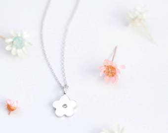 Stone Flower Necklace 925 Sterling Silver Minimalist Jewelry
