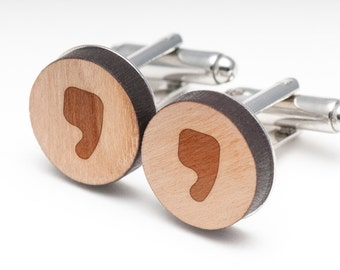 Comma Wood Cufflinks Gift For Him, Wedding Gifts, Groomsman Gifts, and Personalized