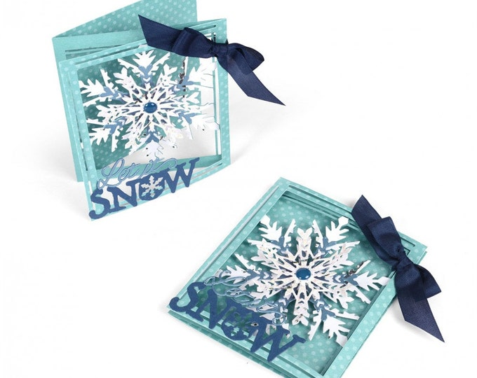 New! Sizzix Thinlits Die Set 8PK - Tri-fold Card, Snowflake by Lindsey Serata 661555