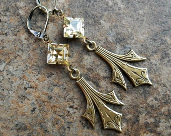 Art Deco Light Amber Swarovski Earrings in Brass