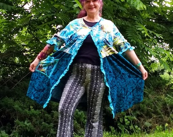 Women's Upcycled Over Jacket Duster Blue Teal Green Contrast Funky Abstract Frill Half Sleeves Stretch Plus Size