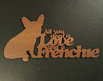 French Bulldog Frenchie Plaque - Wooden Frenchie Plaque - Frenchie Plaque. Perfect for Frenchie lovers. French Bulldog obsessives.