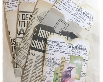 Decorated Journal Pockets, Vintage Book Page Pockets, Journal Tuck Spots, Journal Cards With Pockets, Scrapbook Pockets, Art Journal Cards