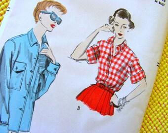 UNCUT 1950s Vogue  Pattern 7686   -  Misses'  Cute Shirt or Blouse   - Factory Folded  - Bust 36 - Size 18