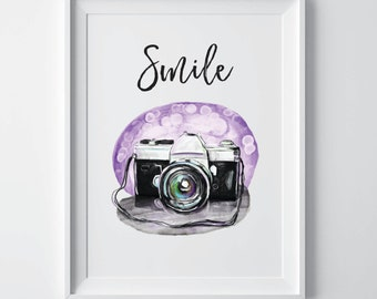 Camera print, camera art, camera poster, camera wall art, photographer gift, camera printable, camera decor, dorm decor, Wall decor