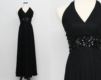 50s Black Chiffon Halter Dress - Extra Small Vintage 1950s Long Sequin Gown