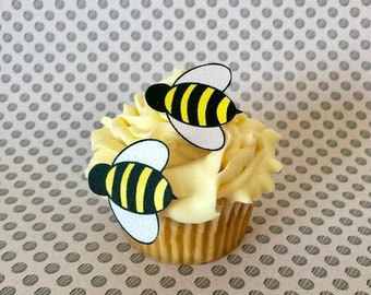 Edible Bumble Bees- 24 small - Cake & Cupcake toppers - Food Decorations