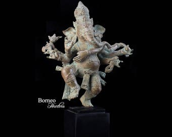 "Bronze 8 Armed Ganesh 12.5""Dancing Ganaphati Verde Gris Hindu God Of Removing Obstacles,Lord Of Beginnings, Of Intellect&Wisdom"