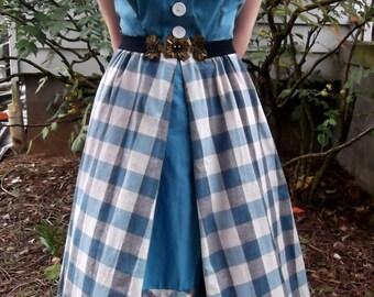VINTAGE GINGHAM DRESS 1950's Blue Retro Size Small