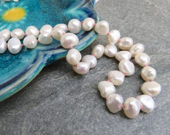 Pearl necklace, knotted pearl necklace, wedding necklace, coloured knot pearl necklace, hand knotted necklace, traditional pearl necklace