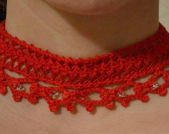 hairpin lace crochet red chocker