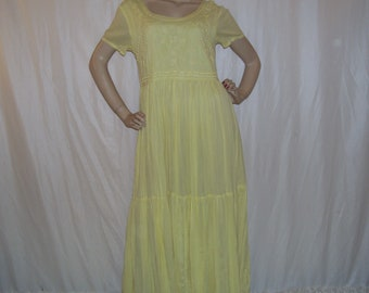Hippie Gauze Dress Sheer Butter Yellow Embroidery 1970s 70s Dress Hippie Gypsy Sheer Gauze Paper Thin Hanky Cotton Dress Adult Vintage M/L