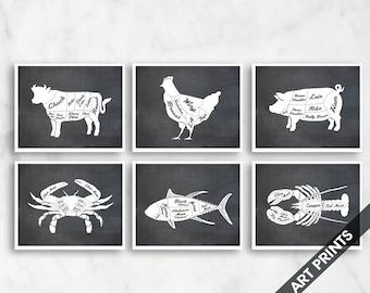 Cow, Chicken, Pig, Crab, Tuna, Lobster (Butcher Diagram Series B) Set of 6 - Art Prints (Featured on Vintage Chalkboard) Kitchen Art Prints