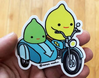 "LEMON AND LIME Vinyl Waterproof 3""x3"" Sticker"