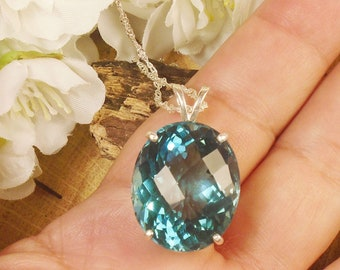 Sea Blue Zircon Gem March or December Birthstone Necklace, Sterling Silver, Extra Huge 24.8 Ct 21 x 17.50 mm Checkered cut Natural Zircon