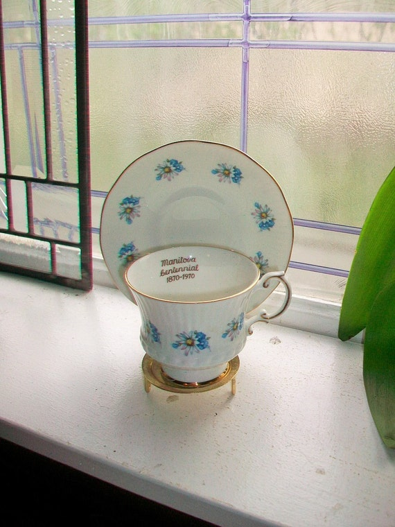 Vintage Tea Cup and Saucer Elizabethan Bone China Manitoba Centennial 1970