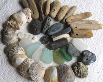 40 Large Sea Glass Driftwood Slag Pottery Shells fossils Dangles Drilled 2.5-3mm holes Supplies (1913)
