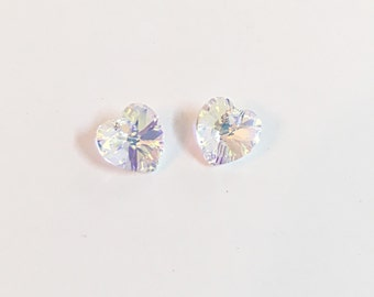 Heart Swarovski Crystal Beads, 10mm Clear AB Swarovski Crystal Hearts 2pcs, Swarovski Crystal Heart Pendants Swarovski Heart Charms Pendants