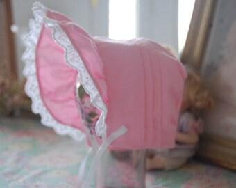Pink Scallop-Trim Baby Bonnet
